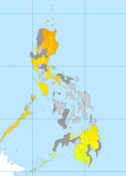 Malaria endemicity map in 2010 in Philippines