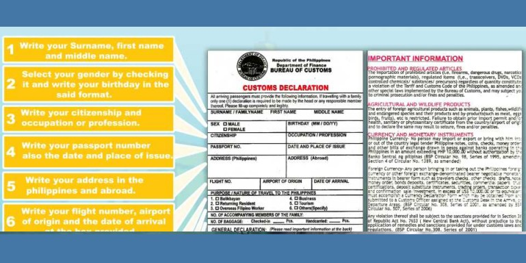 The Philippines Customs form