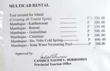 Rental tariffs in Camiguin