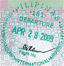 A Philippines departure stamp