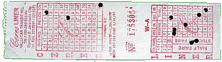A coded bus ticket - read the holes!