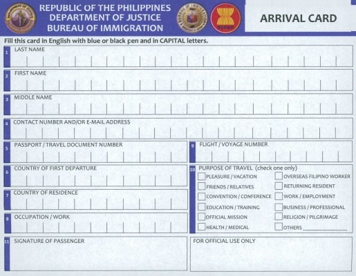 The new 2014 Arrival Card