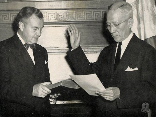 Sergio Osmeña taking his oath of office as President of the Philippines