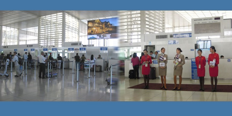 Departure lobby and check-in counters